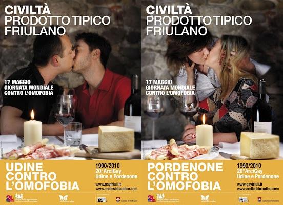 """""""Civiltà prodotto tipico friulano"""", ecco i baci gay sui manifesti della discordia per la Giornata contro l'omofobia"""