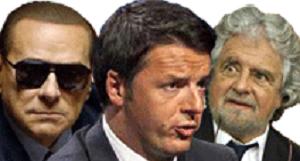 Silvio Berlusconi, Matteo Renzi e Beppe Grillo.