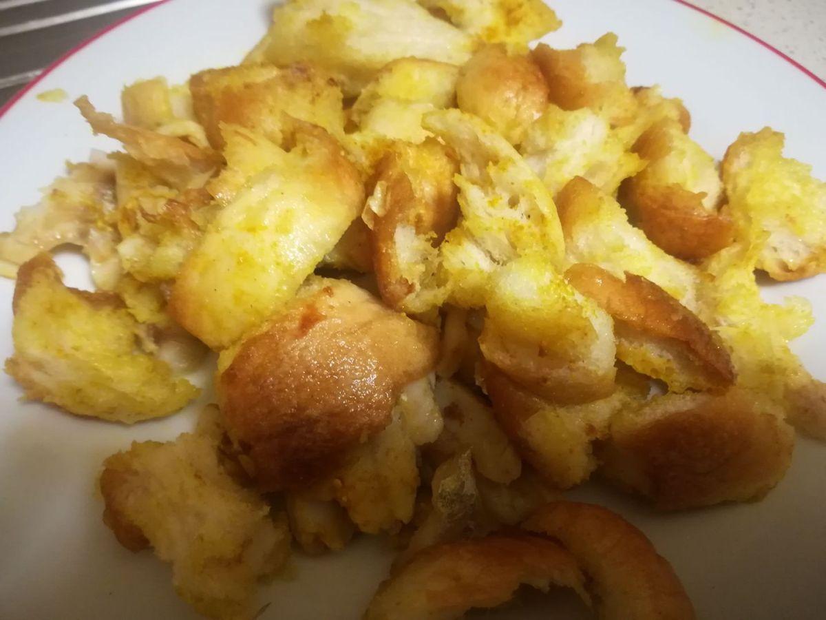 Pasticcio di pane e platessa al curry