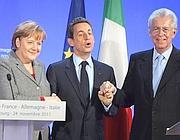Monti vola da Merkel e Sarkozy