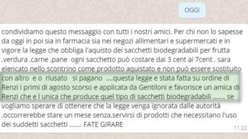 Altra fake news. Sacchetti biodegradabili e l'azienda 'amica' di Renzi