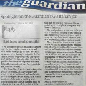 Di Pietro scrive all'Herald Tribune e al The Guardian