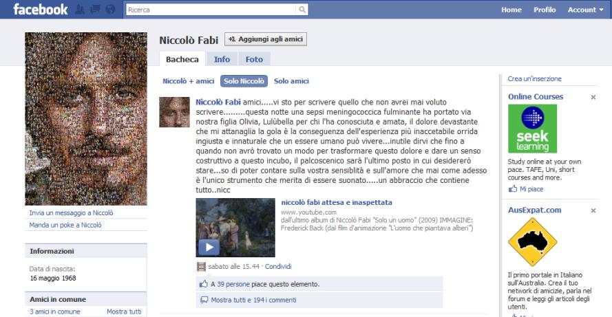 Muore figlia di Nicolo' Fabi
