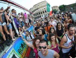 Manifestazione a Roma per le unioni gay