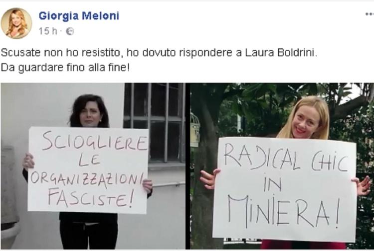 Meloni contro Boldrini su scioglimento partiti neofascisti