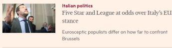 """Financial Times su Di Maio e Salvini: """"Roma apre la porta ai moderni barbari"""""""