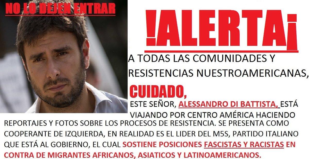 """Tam tam social contro Di Battista: """"Fascista, vattene dall'America latina"""""""
