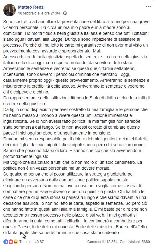 Tiziano Renzi e Laura Bovoli, genitori dell'ex premier Matteo, agli arresti domiciliari