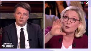 Renzi contro Le Pen alla tv francese: «Con M5S e Salvini in Italia c'è crisi»