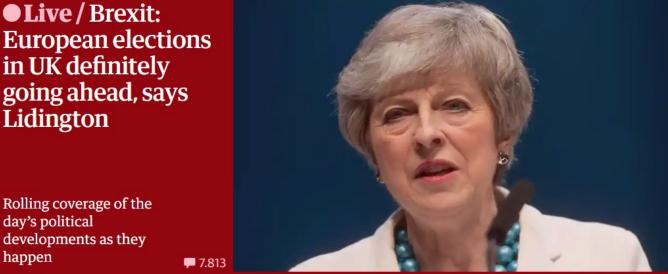 Brexit, il Regno Unito ufficializza che andrà al voto per le Europee. Le elezioni si svolgeranno il 23 maggio