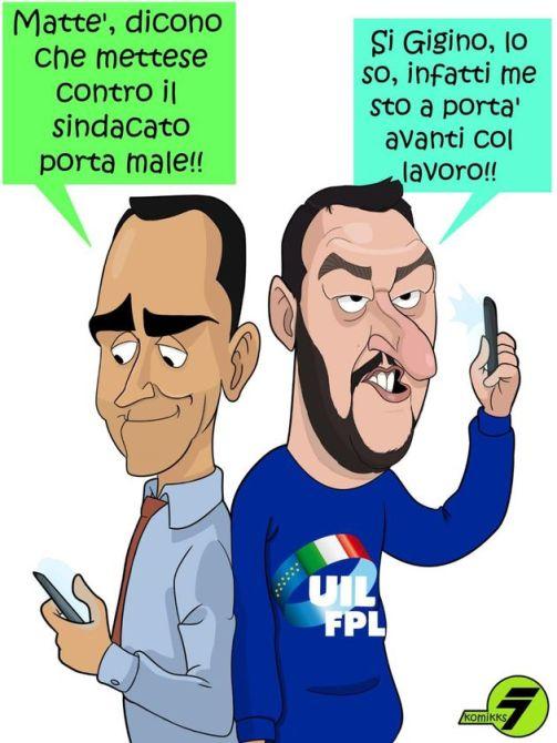 """La Uil denuncia: """"Digos ha bloccato uno striscione ironico contro Salvini e Di Maio"""""""