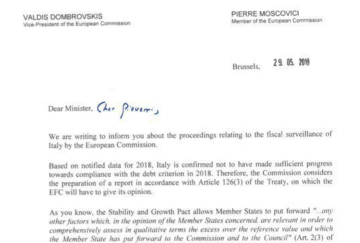 Ue invia all'Italia una lettera per sforamento deficit