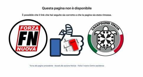 Oscurati i profili FB e Instagram di Casapound e Forza Nuova