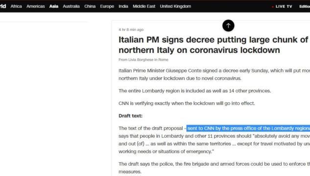 Cnn chiarisce che la bozza del decreto è stata «confermata dalla regione Lombardia»