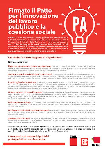 Patto per l'innovazione del lavoro pubblico e la coesione sociale